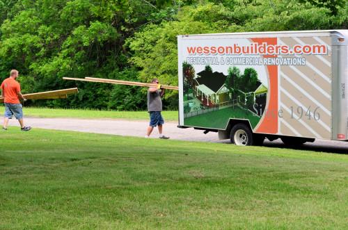 Taking away lumber that won't be needed.